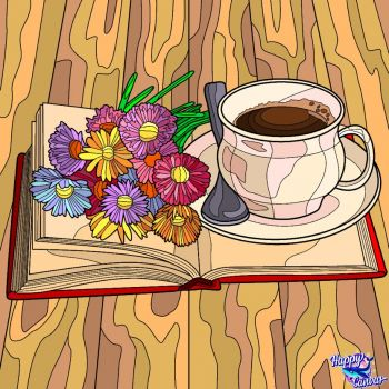 Enjoying Morning Coffee and a Book