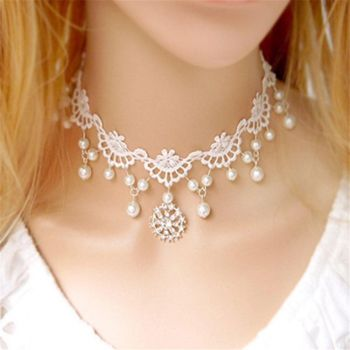 Fashion-White-Tatting-Lace-Beads-Choker-Victorian-Steampunk-Style-Gothic-Collar-Necklace