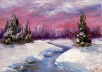 Winter snow oil painting