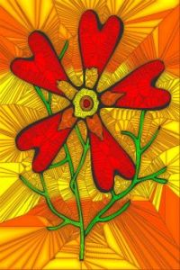 STAINED GLASS FLOWER B65