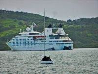 cruise ship at rest in small harbor, 2015 trip
