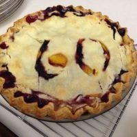 GF Homemade Peach-Blueberry Birthday Pie!