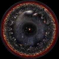 Artist's logarithmic scale conception of the observable universe.
