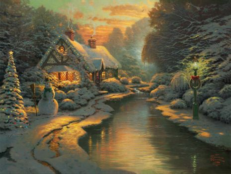 Christmas Cottage by Thomas Kincaid