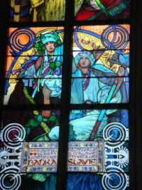 Part of the Mucha window in St Vitus Cathedral, Prague