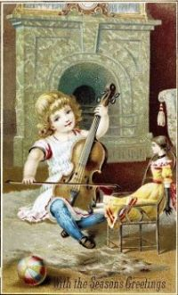 Vintage Card Girl Playing for Her Doll