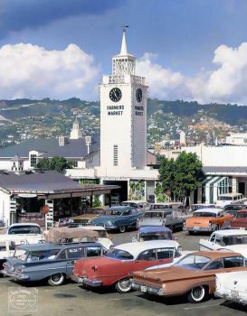 1960 - Farmers Market, Los Angeles.  1959 Chevrolet Station Wagon, 1955 Oldsmobile Ninety-Eight Sedan, and a 1960 Oldsmobile Cou