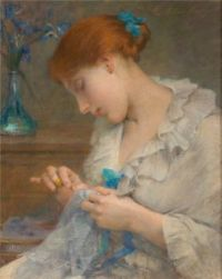 -Sewing girl with flowers in vase
