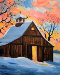 Barn and Snowy Sunrise