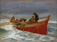 Michael Peter Ancher--The Red Rescue Boat on Its Way Out (study)
