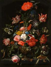 Abraham Mignon, Flowers in a Metal Vase.