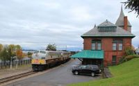 The Canadian Pacific Office Car Train passes the historic D&H station in Plattsburgh, NY
