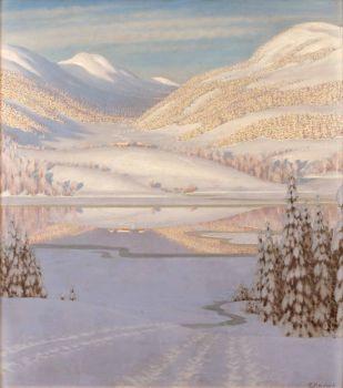Gustaf Fjaestad, Reflections on a Winter Lake
