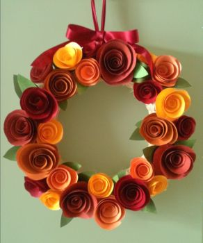 Paper flower Fall wreath, PaintTheTownPretty