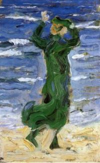 Woman in the Wind by the Sea - Žena ve větru u moře - 1907