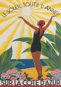 French Riviera Vintage Travel Poster
