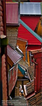 Traditional colorful nordic houses, City of Bergen, Norway
