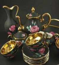 Tea set black & Gold