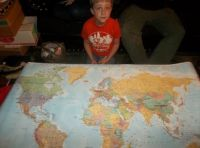Joey and The World Map!!  Showing Him Where You All Live!!