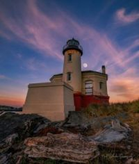 Full Moon at Coquille Lighthouse, OR Coast by Mitch Schreiber Papatography