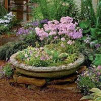 A Container used as a focal point in this cottage garden.