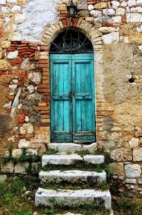Aged Building with Blue Doors