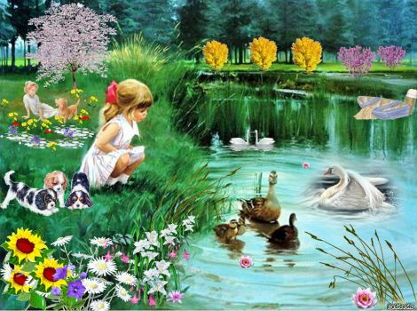 Playing by the Pond