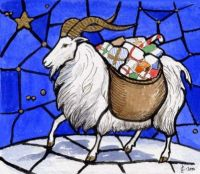 Stained Glass Yule Goat