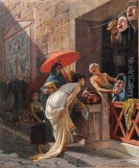 Italian The Mask Seller, A Roman Street Scene Cesare Mariani