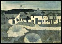 WW I series: Shell Holes and Observations Balloon, Champagne Sector (1931) ~ Horace Pippin
