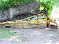 Crushed bus - I think this was in Dominica     293-001