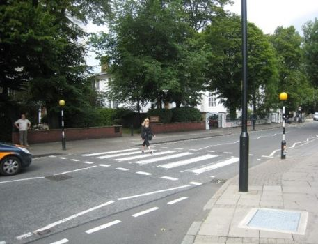 Beatles Fan Crossing Abbey Road