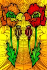 STAINED GLASS FLOWER B63