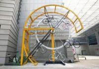Clever bike rack but impractical.