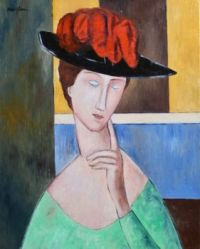 Lady Wearing a large Red and Black Hat  -  Amedeo Modigliani