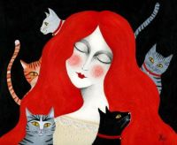 Marta Ponce Art - Five Cats!