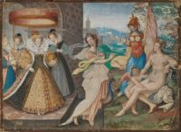 Queen Elizabeth and the Three-Goddesses by Isaac Oliver ca 1590