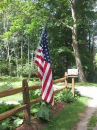 American flag rail  fence and mail box 2019