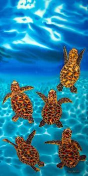 Baby Sea Turtles on Silk by Jean-Baptiste