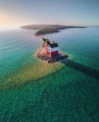 Round Island Lighthouse, 1895, Michigan USA icon