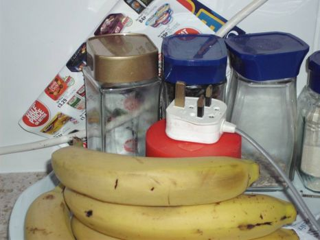 jars, plug and bananas