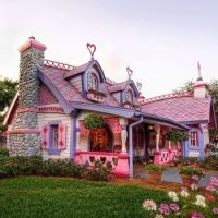 Fairy tale colourful cottages on Candy Cane Lane, Bangor, Maine