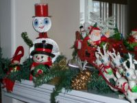 Christmas Mantel with vintage bits