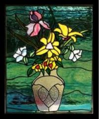 flowers in vase with black border
