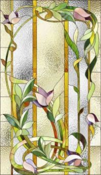 51353471-Stained-glass-window-with-purple-floral-pattern-Stock-Photo