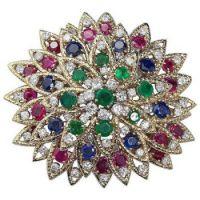 david-webb-multi-gem-ruby-emerald-sapphire-diamond-gold-flower-brooch