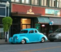 Blue car, blurry picture!