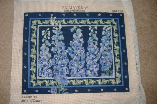 Tapestry Cushion - Delphiniums