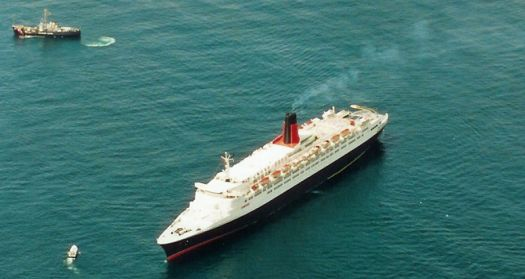 QE 2 - A bad day, aground in Mass.