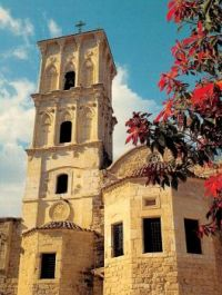 An old postcard with St Lazarus Church, Larnaca, Cyprus